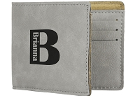 Custom Engraved Name and Initial Wallet for Him