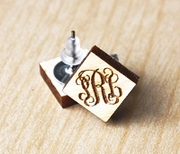 Wooden Monogram Earrings - Diamond Vine