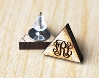 Wooden Monogram Earrings - Triangle Vine