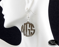 Monogram Dangle Earrings - Circle Block