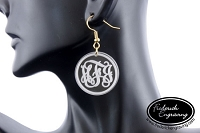 Monogram Dangle Earrings - Clear Etched Vine