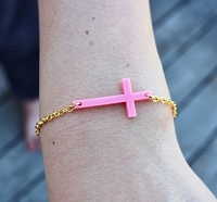 Tiny Sideways Cross Bracelet