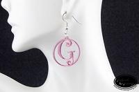 Dangle Earrings - Framed Curly Initial