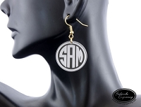 Monogram Dangle Earrings - Clear Etched Circle Block