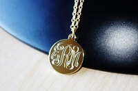 Engraved Metal Script Monogram Necklace