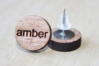 Wooden Stud Name Earrings
