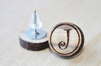 Wooden Stud Initial Earrings - Curly