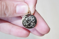 Engraved Metal Script Monogram Charm