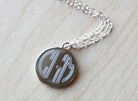 Engraved Metal Block Monogram Necklace