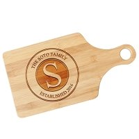 Engraved Family Stamp Paddle Cutting Board