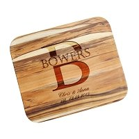 Teak Cutting Board Personalized Couple's Initial