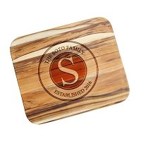Personalized Teak Cutting Board Family Stamp