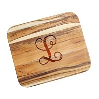 Teak Cutting Board Personalized with Script Initial