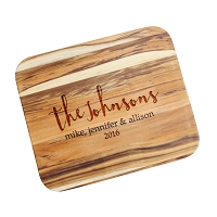Engraved Family Script Custom Cutting Board
