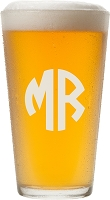 Two Initial Block Monogram Pint Glass