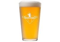 Personalize  Pint Glass with Baseball Badge and Text