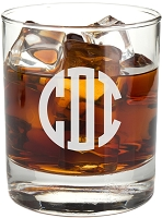Block Monogram Rocks Glass