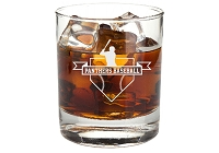 Personalized Whiskey Glass with Baseball Badge and Text