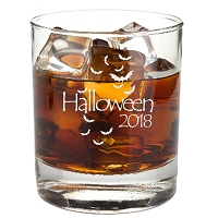 Engraved Halloween Bats Rocks Glass