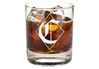 Personalized Diamond Monogram Whiskey Glass