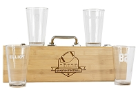 Personalized Football BBQ Grill Set with 4 Engraved  Pint Glasses