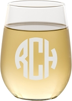 Block Monogram Stemless Wine Glass