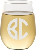Two Initial Block Monogram Stemless Wine Glass
