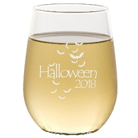 Engraved Halloween Bats Stemless Wine Glass