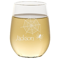 Engraved Halloween Custom Web Stemless Wine Glass
