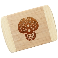 Blonde Bamboo Cutting Board - Candy Skull