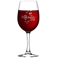 Engraved Halloween Bats Wine Glass