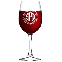 Personalized Celtic Circle Three Letter Monogram Wine Glass