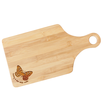 Engraved Butterfly Wooden Paddle Cutting Board