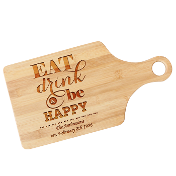 Engraved Housewarming Cutting Board - Eat, Drink, and Be Happy