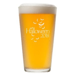 Engraved Halloween Bats Pint Glass