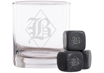 Personalized Diamond Monogram Whiskey Glass and Stones