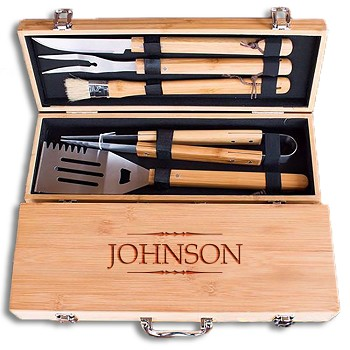 Custom Engraved Father's Day BBQ Grill Set for Dad