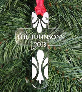 Custom Christmas Ornaments.Family Cross Custom Christmas Ornament