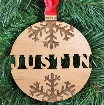 Snowflake Name Ornament - Personalized Wood Ornament