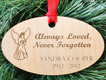 Always Loved, Personalized Wood Memorial Christmas Ornament