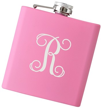 6 oz Script Initial Flask - Choose Your Color
