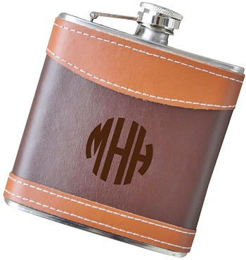Engrave Your Custom Logo - 6 oz Two Tone Leather Flask