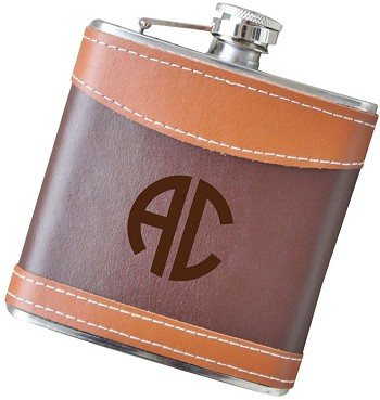 Two Initial - 6 oz Two Tone Leather Flask