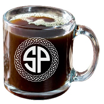 Personalized Celtic Circle Two Letter Monogram Glass Coffee Mug