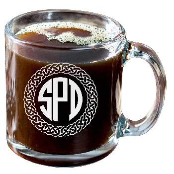 Personalized Celtic Circle Three Letter Monogram Glass Coffee Mug