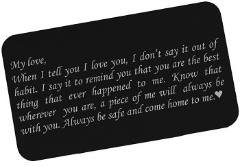 Always Come Home To Me, Engraved Wallet Love Note Insert