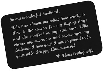 Anniversary Gift for Husband - Engraved Wallet Card Insert