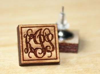Wooden Monogram Earrings - Square Framed Vine