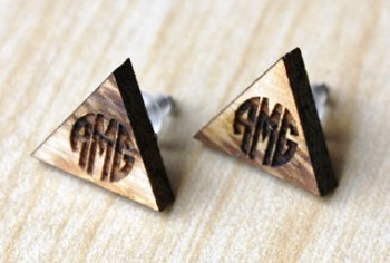 Wooden Monogram Earrings - Triangle Circle Block