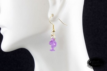 Dangle Earrings - Tiny Curly Initial